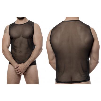 Camiseta Regata Tule Transparente - Preto