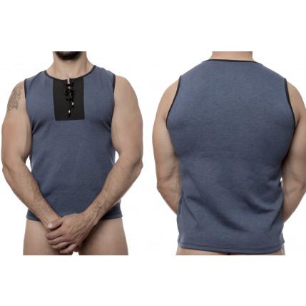 Camiseta Regata Lisa Azul detalhe Ilhós