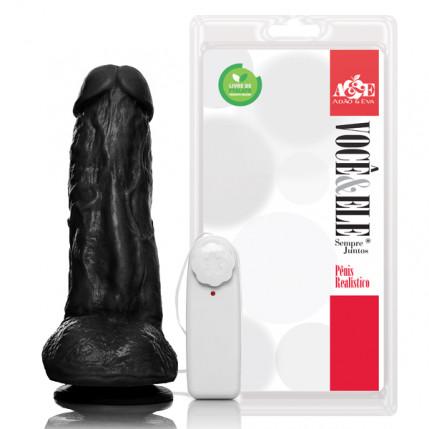 Prótese com escroto, ventosa e vibro Kong - 19,5x5,5 cm na cor preto