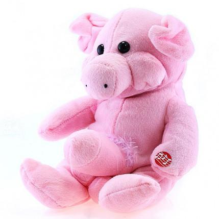 Porquinho em pelúcia rosa com pênis
