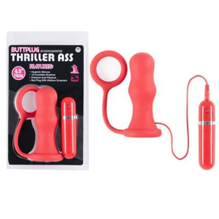 Plug anal com anel peniano e 10 vibrações - BUTTPLUG THRILLER ASS - NANMA
