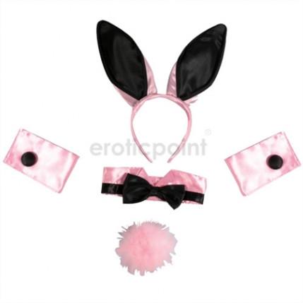 Fantasia coelhinha em cetim rosa e preto