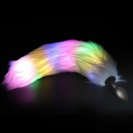 Plug Anal Silicone de Luxo com calda efeito luzes de Led Coloridas -3277/79/75