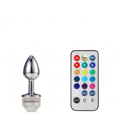 Plug Anal em Aluminio 7 cm com Luz de Led – 5545