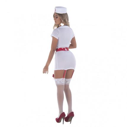 Fantasia Profissional da Saúde - Conjunto de Vestido Curto, Tanga e Chapéu