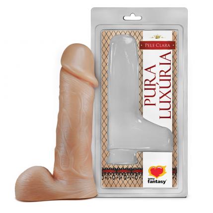 Prótese Pura Luxúria Realístico Com Escroto 18x4 Cm Sexy Fantasy - 5069