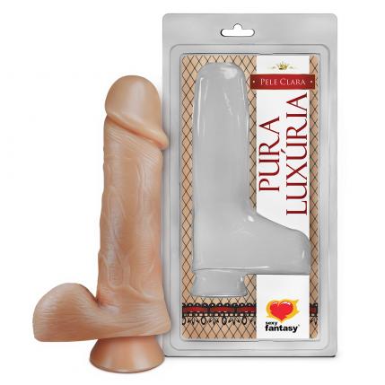 Prótese Pura Luxúria Realístico Com Escroto e Ventosa 16,2x4,4 Cm Sexy Fantasy - 5095