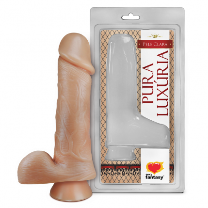 Prótese Pura Luxúria Realístico Com Escroto e Ventosa 18 x 4,4 Cm Sexy Fantasy - 5096