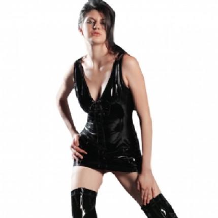 Mini vestido sexy em vinil trançado preto