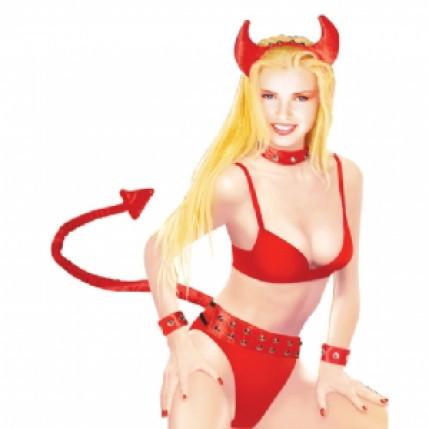 Fantasia diabinha sexy em veludo vermelho com cinto