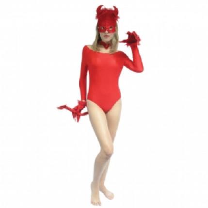 Fantasia sexy diabinha vermelha com luvas e máscara