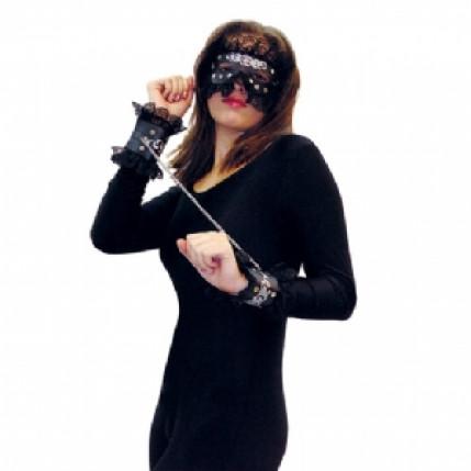 Kit máscara e algema em couro sintético