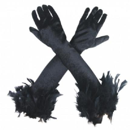 Luva sexy veludo preta 52cm com penas